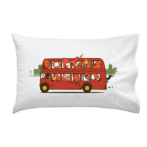 'Red Trip In London' Funny Red Character Parody in Double Decker Bus - Pillow Case Single Pillowcase