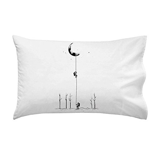 'Reach For The Moon' Astronauts Climbing Rope Into Space - Pillow Case Single Pillowcase