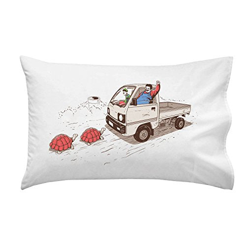 'Just Like Video Game' Funny Fat Plumber Running Over Turtles Parody - Pillow Case Single Pillowcase