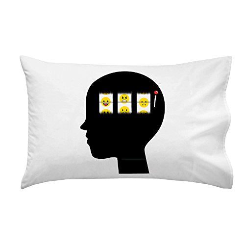 'Mood Of The Day' Funny Casino Slot Machine Brain - Pillow Case Single Pillowcase