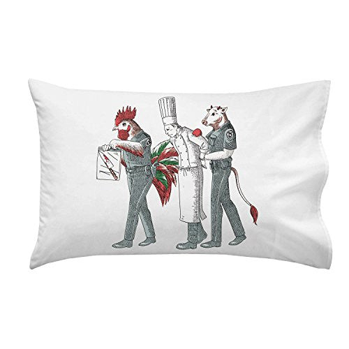 'Murder Chef' Vegetarian Humor Chicken & Cow Police - Pillow Case Single Pillowcase