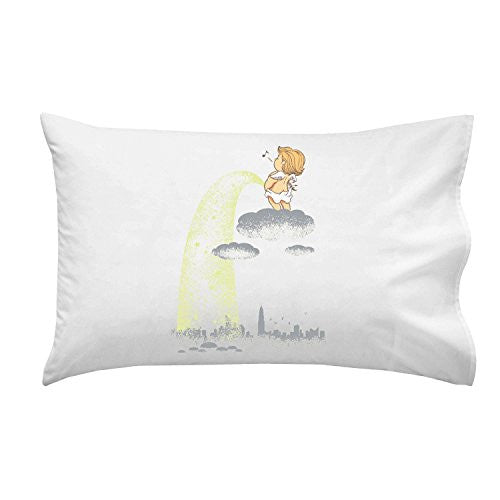 'Rainy Day' Funny Baby Angel Pee on City - Pillow Case Single Pillowcase
