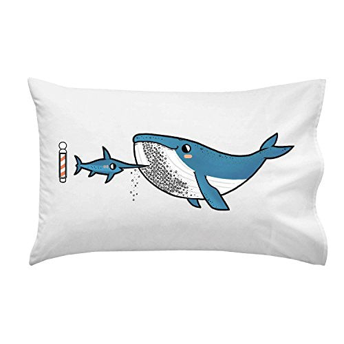 'Barnacle Beard' Funny Humpback Whale & Marlin Sword Fish Underwater Barber - Pillow Case Single Pillowcase