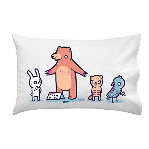 'Bear Hugs' Funny Bear Covered in Blood Offering Free Hugs Cartoon - Pillow Case Single Pillowcase
