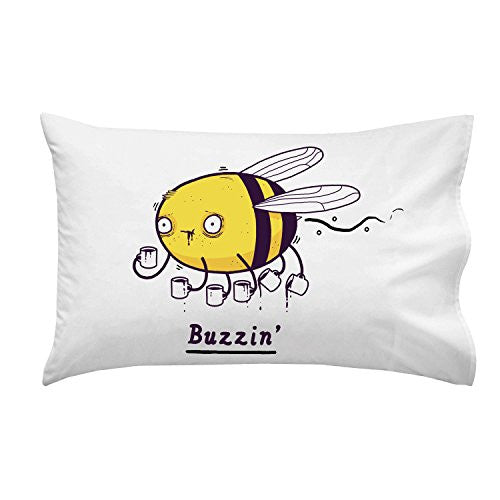 'Buzzin' Funny Bumblebee Drinking Coffee Humor - Pillow Case Single Pillowcase