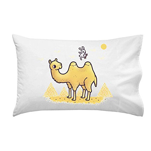 'Desert Air' Funny Bunny Rabbit Skateboard Jumping Over Camel Humps - Pillow Case Single Pillowcase