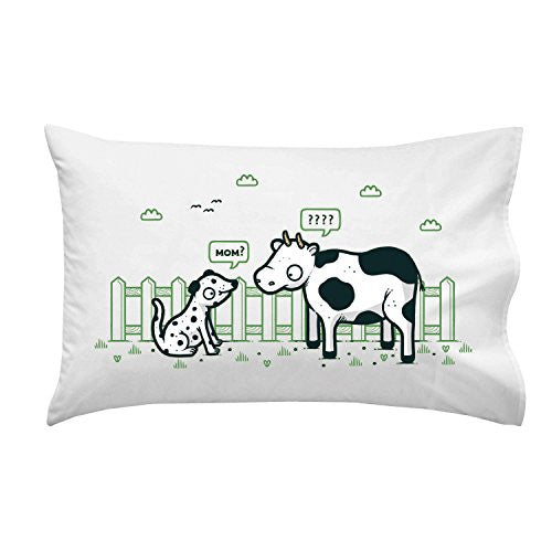 'Identity Crisis' Funny Dalmatian Puppy & Cow Black & White Spots - Pillow Case Single Pillowcase