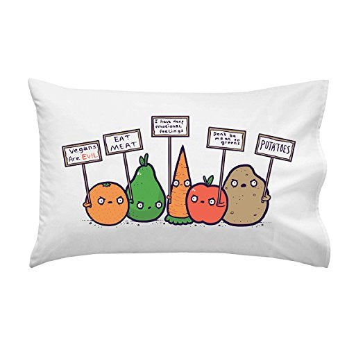 'Protesting Vegans' Funny Vegetables w/ Protest Signs Against Vegans - Pillow Case Single Pillowcase