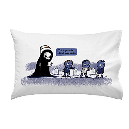 'Paperwork' Funny Grim Reaper Complaining About Zombies - Pillow Case Single Pillowcase