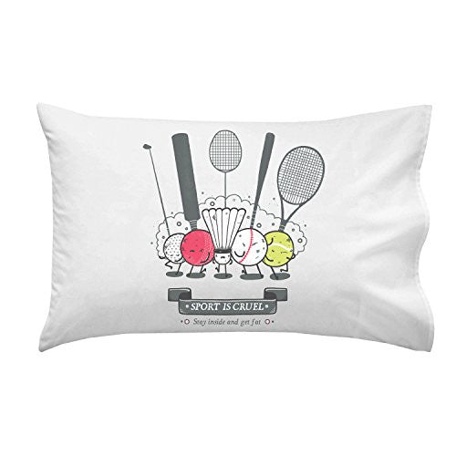 'Sport is Cruel' Funny Angry Sport Gang 'Get Fat' - Pillow Case Single Pillowcase