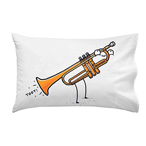 'Toot' Funny Trumpet Fart Out Horn - Pillow Case Single Pillowcase
