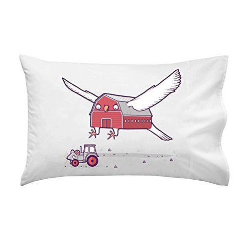 'Barn Owl Grey' Mouse Tractor Farm Humor - Pillow Case Single Pillowcase