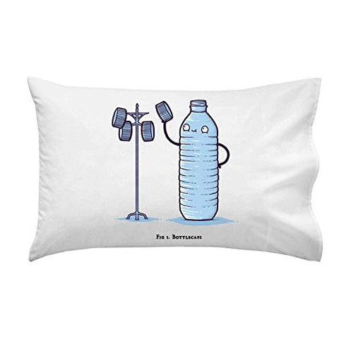 'Bottle Caps' Water Bottle Humor - Pillow Case Single Pillowcase