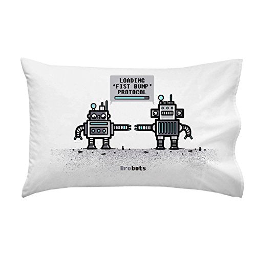 'BroBots' Robot Fist Bump Humor - Pillow Case Single Pillowcase
