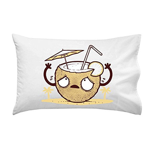 'Coconut Drink' Beverage Humor - Pillow Case Single Pillowcase