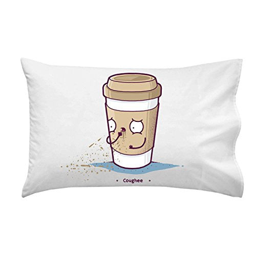 'Coughee' Coffee Cup Pun - Pillow Case Single Pillowcase