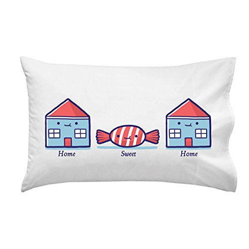 'Home Sweet Home' Candy Houses - Pillow Case Single Pillowcase