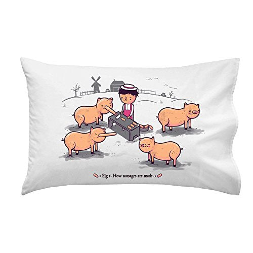 'How Sausages Are Made' Pig Farm Humor - Pillow Case Single Pillowcase