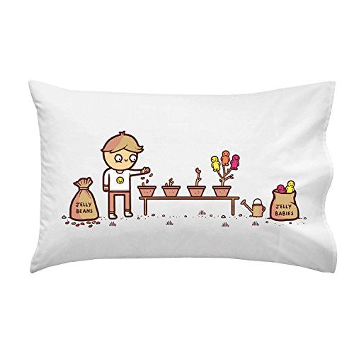 'Jelly Babies' Planting Candy Humor - Pillow Case Single Pillowcase