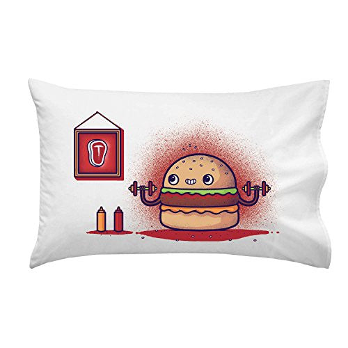 'Lean Meat' Hamburger Exercise Humor - Pillow Case Single Pillowcase