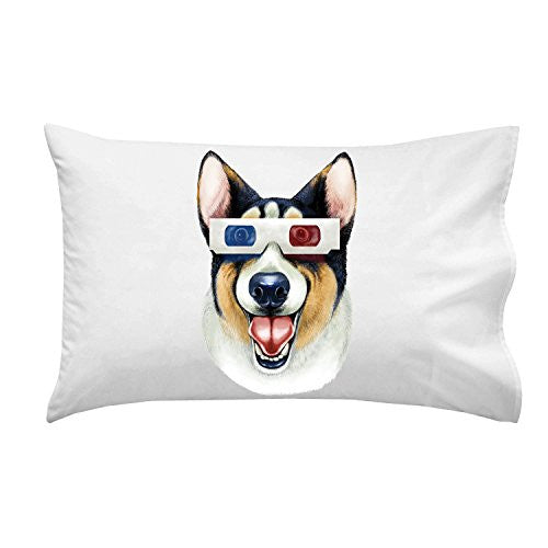 'Corgi 3D' Funny Puppy Dog Wearing 3D Movie Glasses - Pillow Case Single Pillowcase