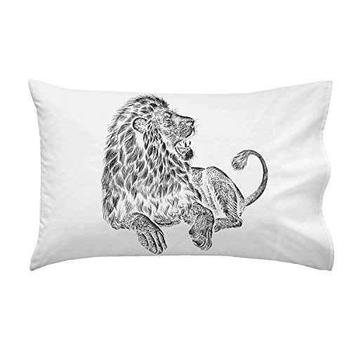 'Majestic Lion' Big Cat Jungle King Black & White Artwork - Pillow Case Single Pillowcase