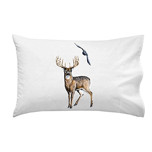 Wildlife Deer Winter Scene w/ Bird - Pillow Case Single Pillowcase