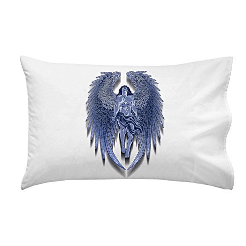 Winged Man Angel Blue Design Artwork - Pillow Case Single Pillowcase