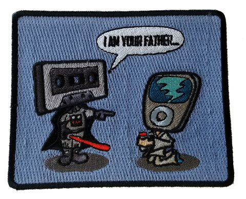"""I Am Your Father"" Funny Audio & Space Movie Parody - Novelty Iron On Patch Applique HS P - BS - 0049"