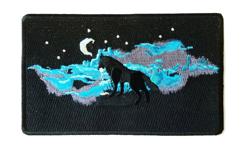 """Waning Crescent"" Night Moon w/ Howling Wolf - Novelty Iron On Patch Applique HS P - CHL - 0071"