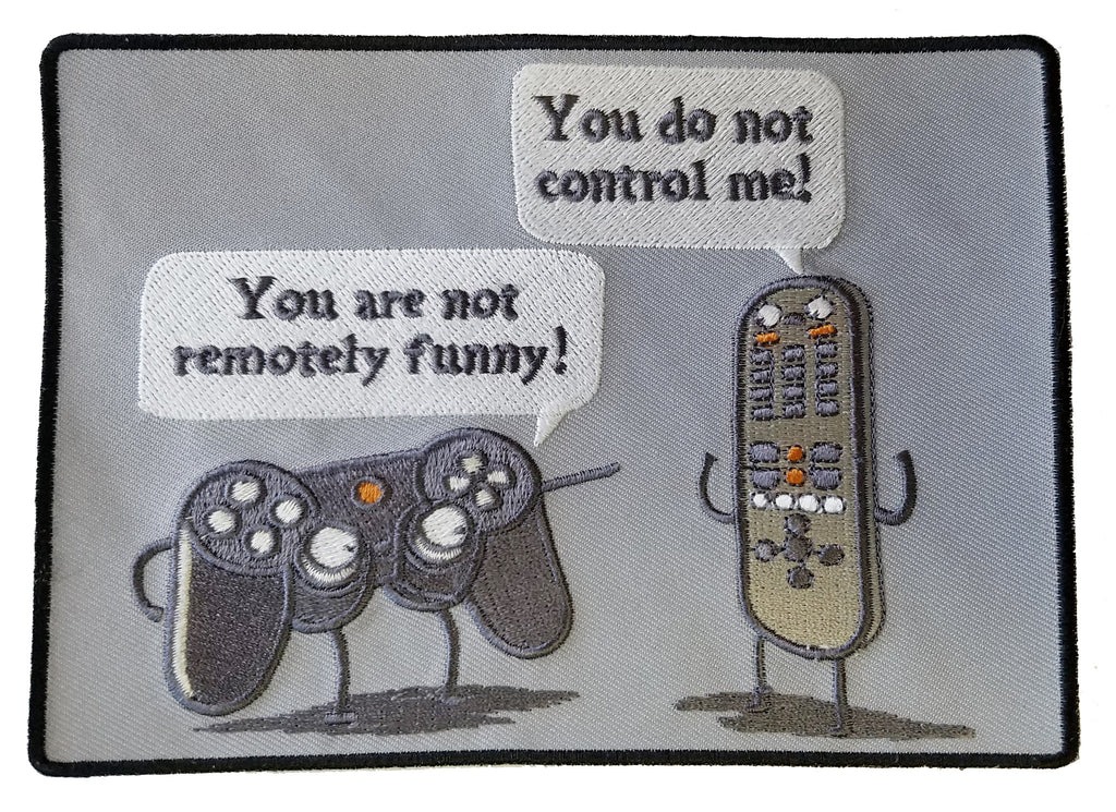 """Controlling"" Funny Video Game Controller & TV Remote Arguing - Novelty Iron On Patch Applique HS P - RO - 0008"