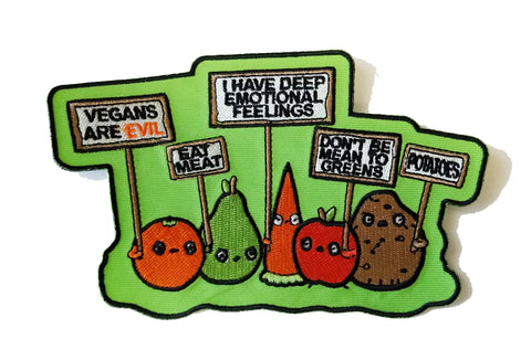 Funny Vegetables w/Protest Signs Against Vegans - Novelty Iron On Patch Applique HS P - RO - 0016