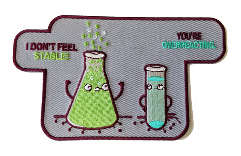 """Overreacting"" Funny Chemistry Beaker Chemicals - Novelty Iron On Patch Applique HS P - RO - 0024"