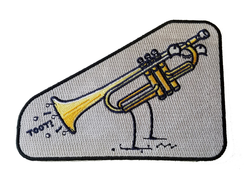 """Toot"" Funny Trumpet Fart Out Horn - Novelty Iron On Patch Applique HS P - RO - 0033"