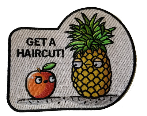 """Haircut Pineapple"" Fruit Humor - Novelty Iron On Patch Applique HS P - RO - 0081"