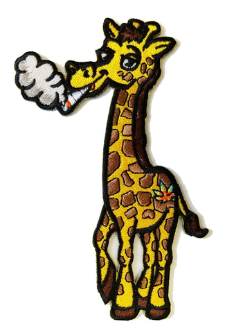 Pot Smoking Pals Funky Giraffe - Iron on Embroidered Patch Applique HS P - SR - 0014