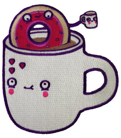 Randy Otter 'Coffee with Friends' Cute Coffee Cups & Sprinkle Donut Patch Applique