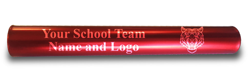 Custom Red Aluminum Track and Field Relay Baton Personalized Gift - Your Team Name and Logo Engraved