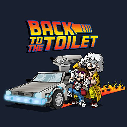 'Back To The Toilet' Funny Video Game & Movie Parody - Vinyl Sticker
