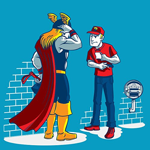 'Electricity Bill' Funny Super Hero Parody w/ Meter Guy - Vinyl Sticker