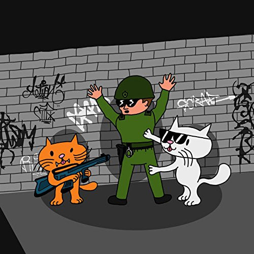 'Bad Cats w/ Cop' Funny Cartoon Tagged Brick Wall - Vinyl Sticker