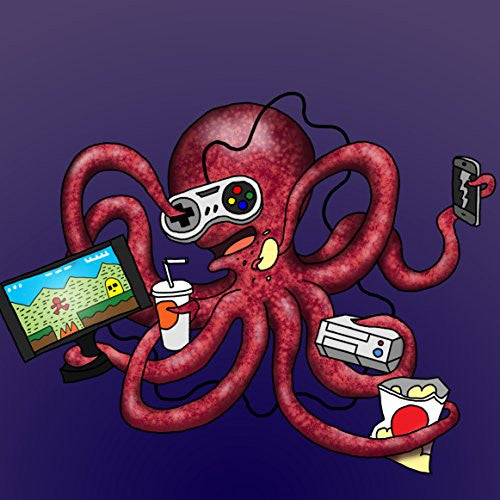 'More Tentacles to Party Octovideo' Funny Octopus Playing Video Games - Vinyl Sticker
