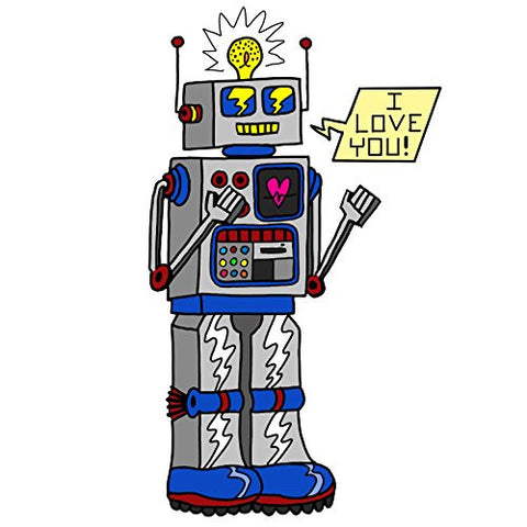 '80's Love Robot' Funny Cute Vintage Robot w/ Feelings - Vinyl Sticker