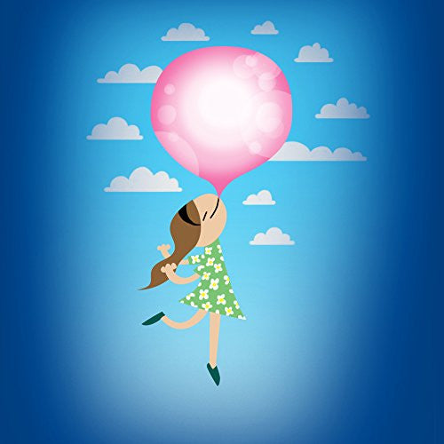 'Bubble Gum Girl' Funny Floating Away - Vinyl Sticker