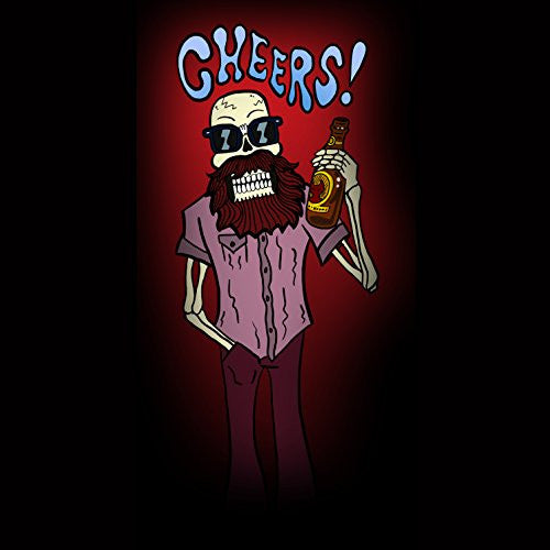 'Cheers!' Funny Skeleton Drinking Beer - Vinyl Sticker