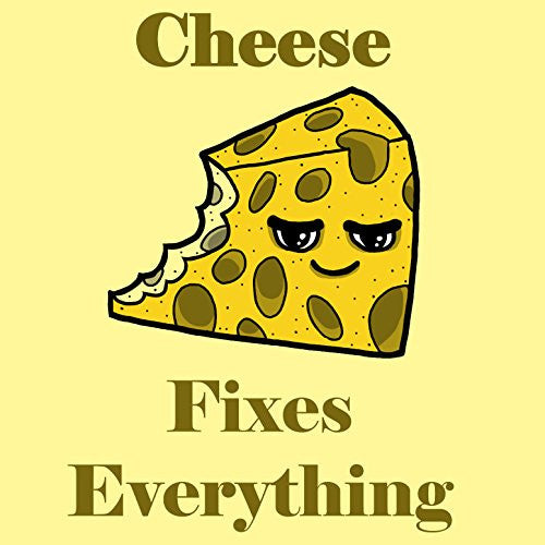 'Cheese Fixes Everything' Food Humor Cartoon - Vinyl Sticker