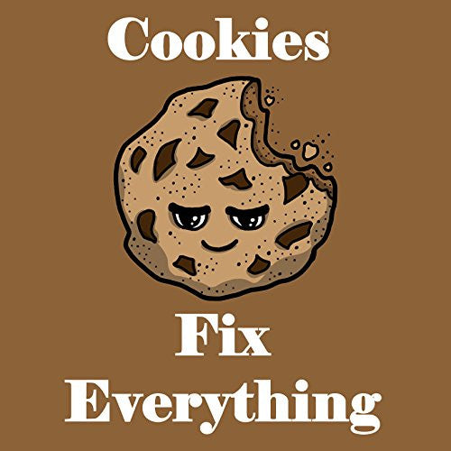 'Cookies Fix Everything' Food Humor Cartoon - Vinyl Sticker