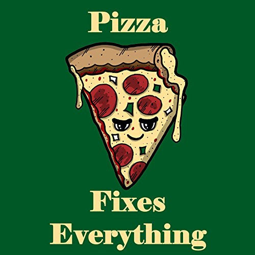 'Pizza Fixes Everything' Food Humor Cartoon - Vinyl Sticker
