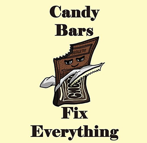 'Candy Bars Fix Everything' Food Humor Cartoon - Vinyl Sticker