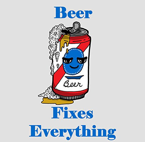 'Beer Fixes Everything' Food Humor Cartoon - Vinyl Sticker